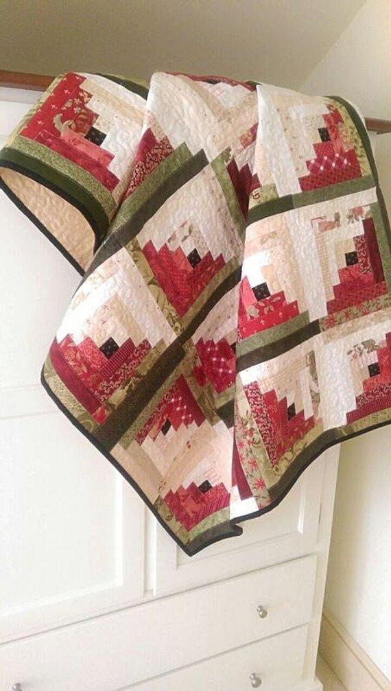Watermelon Log Cabin Quilt Pattern