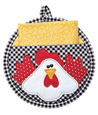 Round Chicken Potholder with Pocket