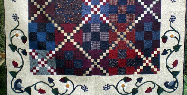 Appliqued flowers at mainely quilts of love