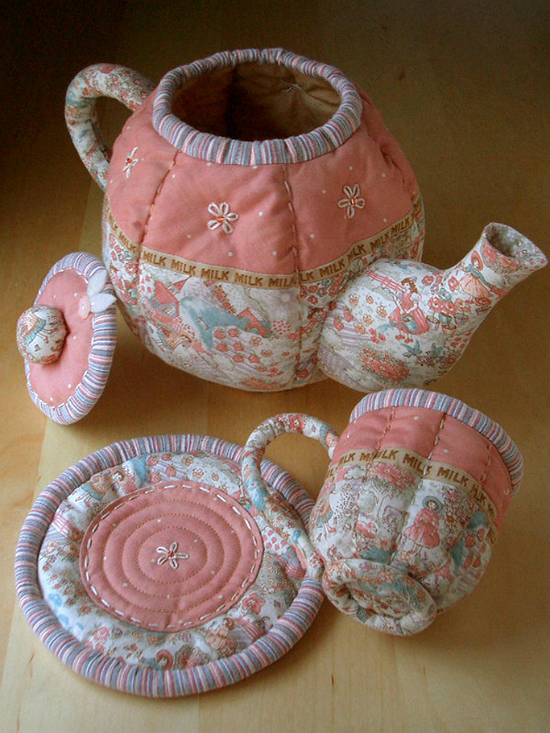 Quilted Teapot, Cup and Saucer