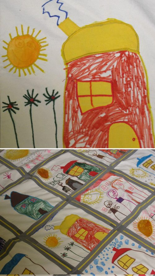 Quilt Made from Child's Drawings
