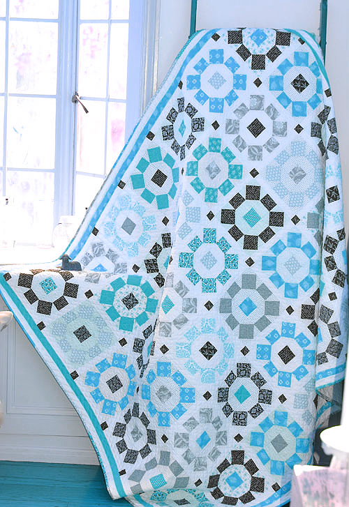 Halloween Blooms Quilt Pattern in Turquoise