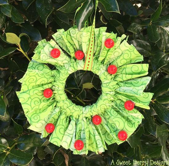 Mason Jar Lid Fabric Wreath