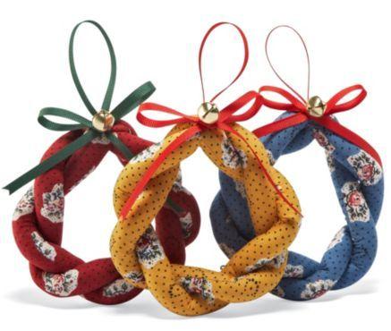 Braided Fabric Wreath Ornaments