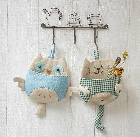 Owl and Kitty Wall Pocket Organizers