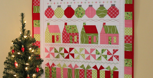 A Charming Holiday Row Quilt for Your Wall   Quilting Digest