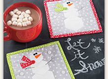 Hexie Snowman Mug Rug Pattern
