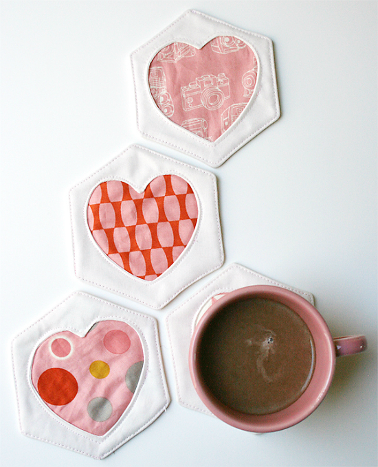 Hex and Heart Coasters