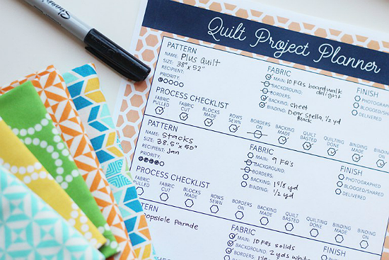 Quilt Project Planner Free Printable