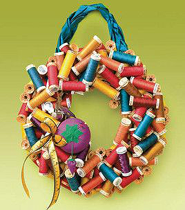 Wreath Made from Spools of Thread
