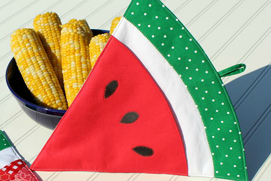 Patchwork Watermelon Potholder Oven Mitt Pattern