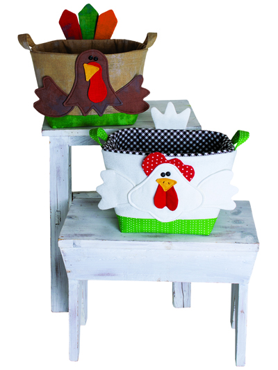 Handy Baskets - Chicken and Turkey Pattern