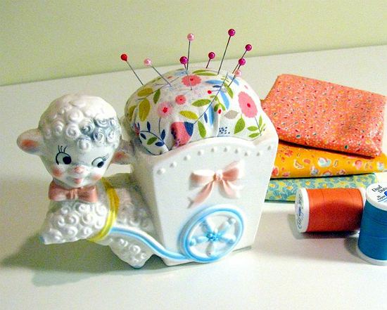 Turn a Little Vintage Planter Into a Pincushion