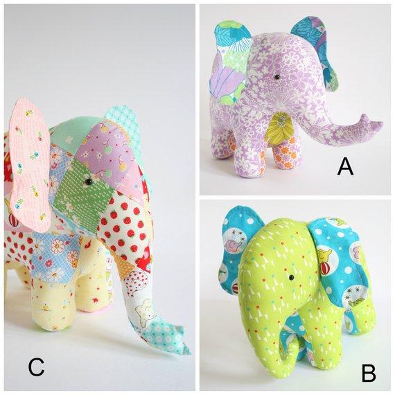 Patchwork Stuffed Elephant