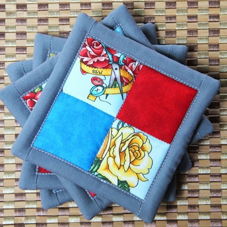 Four Patch Drink Coasters with Faux Binding