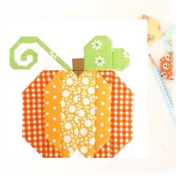 Pumpkin Patch Quilt Block Pattern