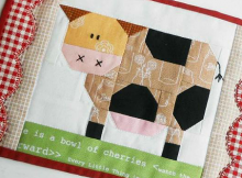 Patchwork Cow Mug Rug and Blocks