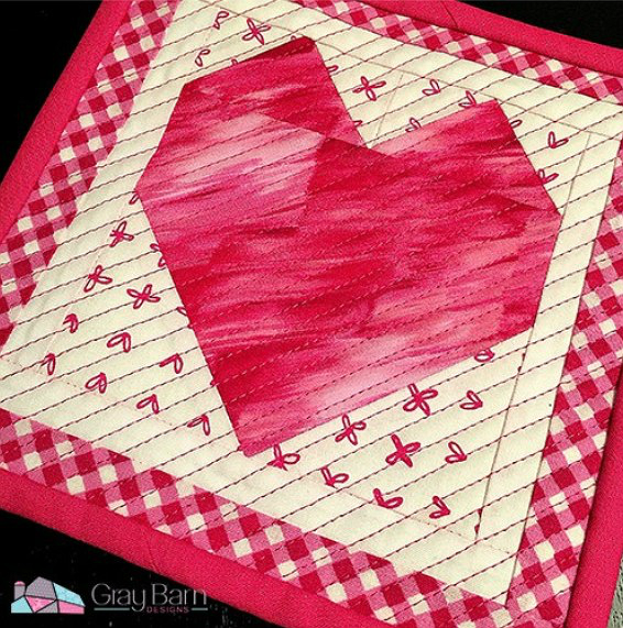Sweet Heart Mug Rug Pattern