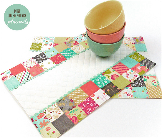 Mini Charm Square Patchwork Placemats Tutorial