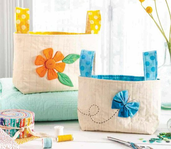 Floral Fabric Baskets Pattern