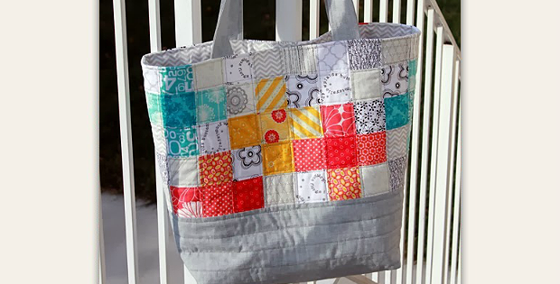 Scrappy Quilted Tote Bag Tutorial