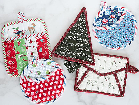 Potholder Parade Quilted Christmas Potholders Pattern