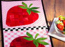 Patchwork Accent Table Runner - Strawberries Pattern