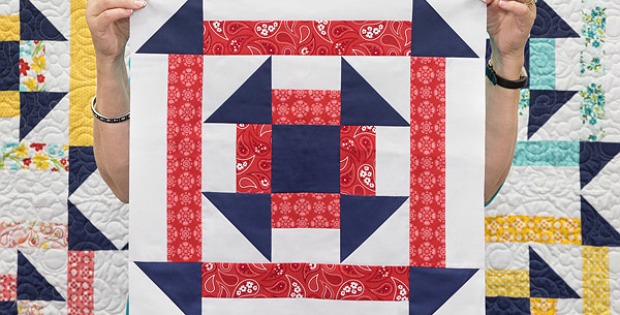 Double Churn Dash Quilt Block