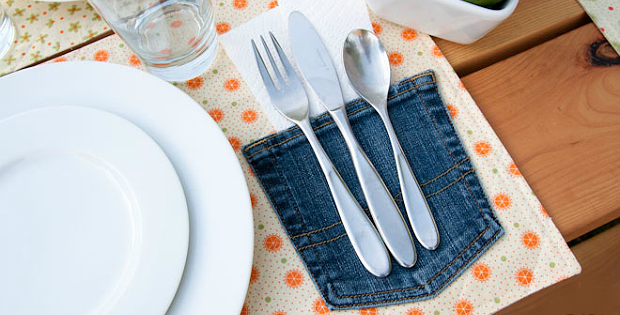 Old Jean Pockets Are Perfect for Place Mats