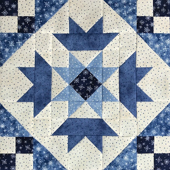 Crown and Star Quilt Block Pattern