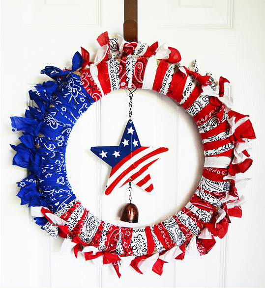 Patriotic Bandana Wreath Tutorial