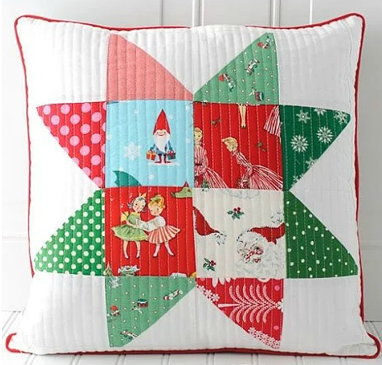 Patchwork Quilted Christmas Pillows Tutorial