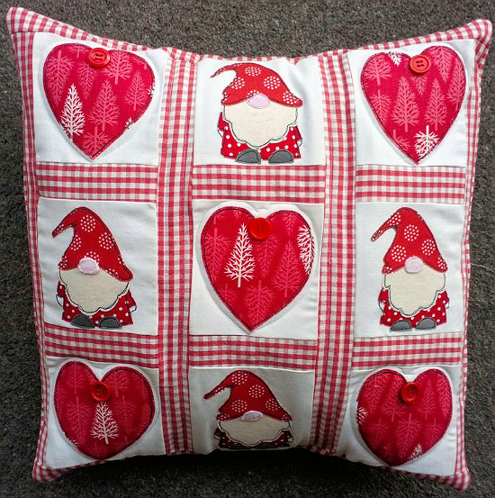 Christmas Gnomes and Hearts Pillow