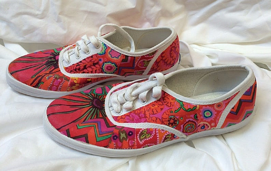 Fabric Collaged Shoes Pattern