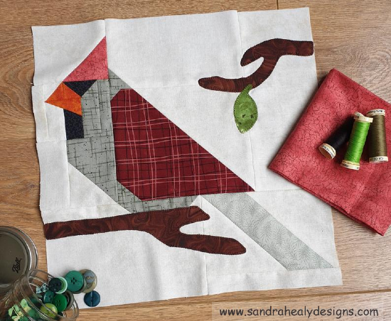 Cardinal Bird Quilt Block Pattern