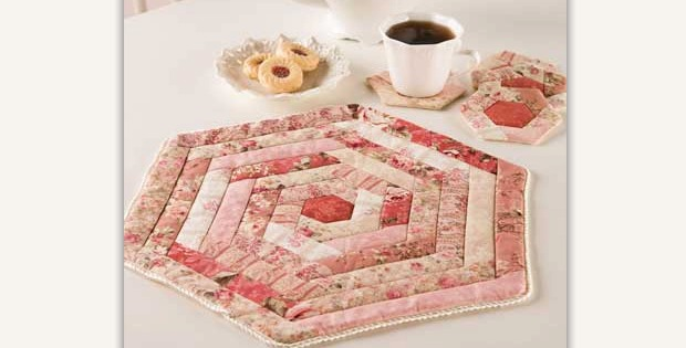 Hexie Table Mat and Coasters
