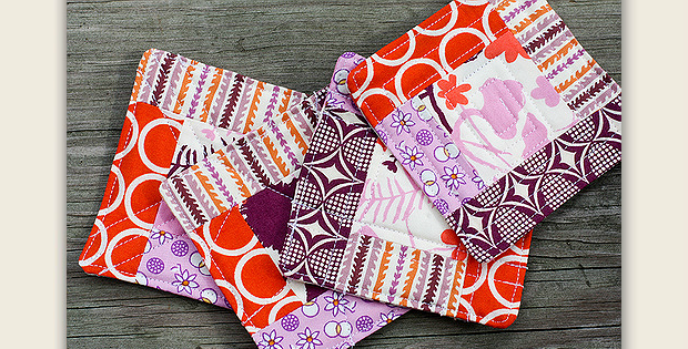 Quilted Log Cabin Coasters