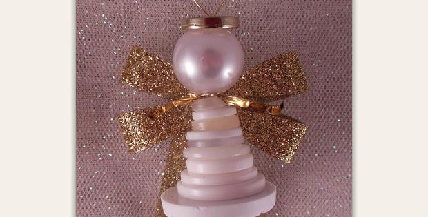 Button Angel Ornament