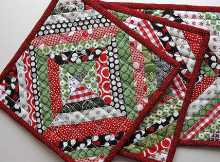 String Pieced Holiday Pot Holders