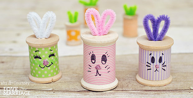 Make Cute Easter Bunnies from Wooden Spools