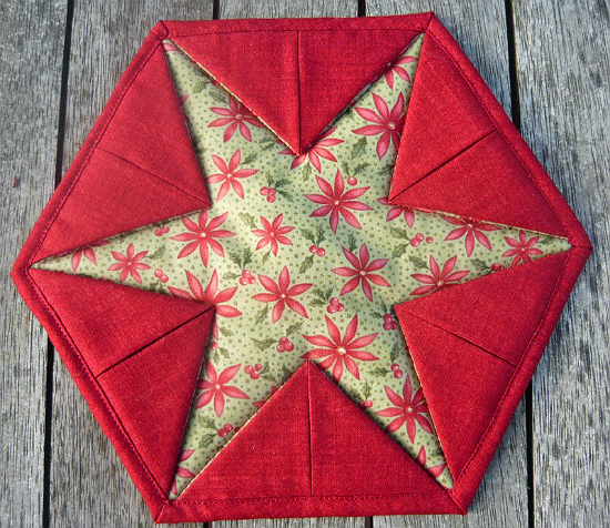 """Star Trivet"" Free Quilted Kitchen Pattern designed by Raewyn of Stiching Farm Girl from Quilting Digest"
