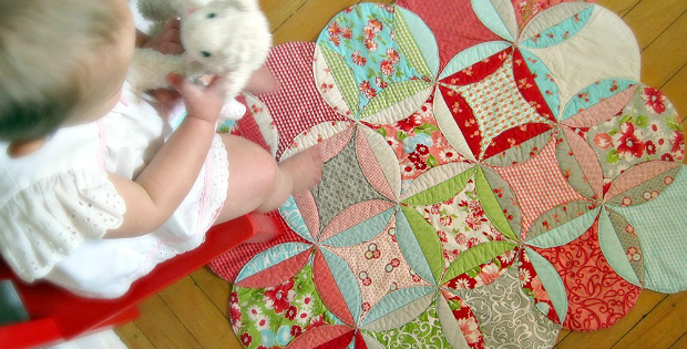 Cathedral Window Baby Playmat