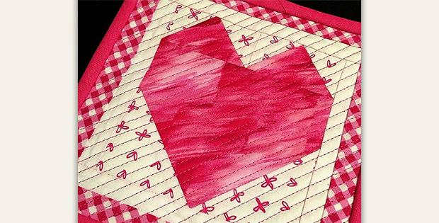 Sweet Heart Mug Rug Pattern