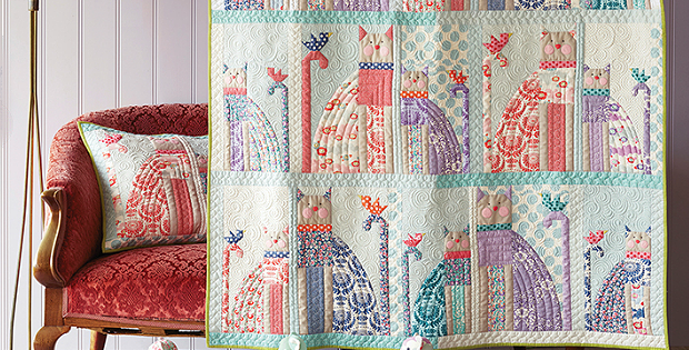 Lazy Days Cat and Bird Quilt and Pillow Patterns