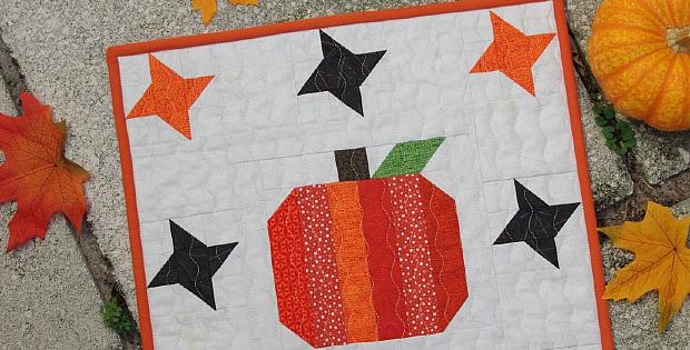 Pumpkin & Stars Mini Quilt Tutorial